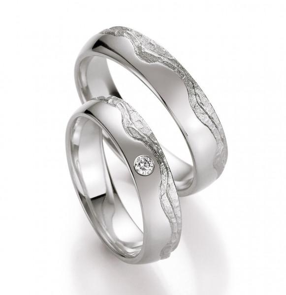 Freundschaftsringe mit Wellenfuge und Struktur matt-poliert 925 Silber