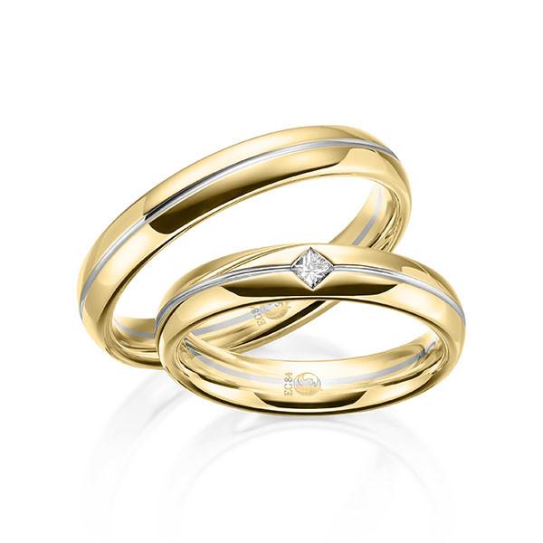 Trauringe 750 Gelbgold 950 Palladium Eheringe Hochzeitsringe RU-1611-2-750GG950PD