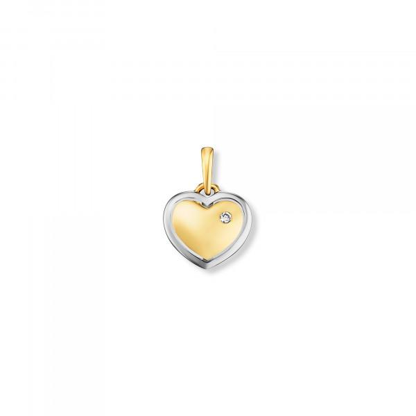 Anhänger Herz 585 Gold mit Weißgoldner Umrandung