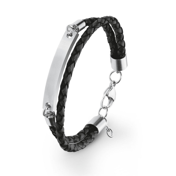 Armband Leder schwarz geflochten Edelstahlplatte gravierbar s.Oliver