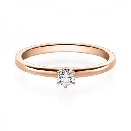 Verlobungsring 585 Rotgold 0,15 ct. Brillant