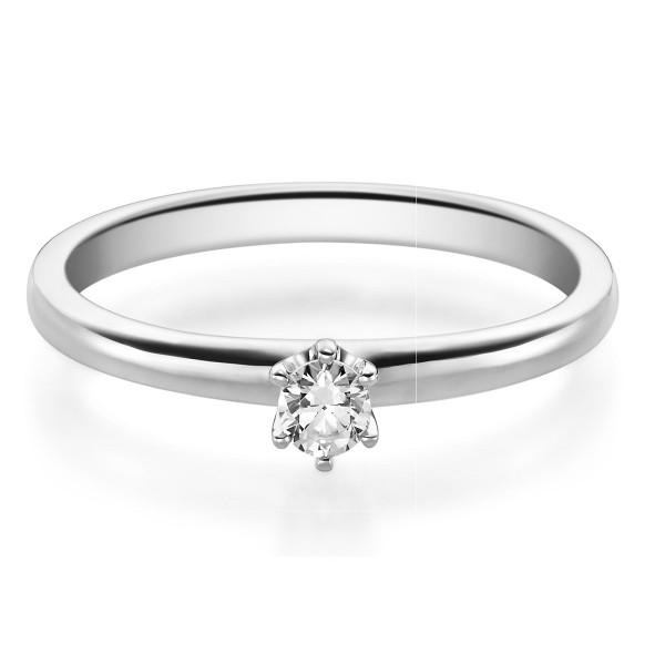 Verlobungsring 585 Weissgold 0,10 ct. Brillant