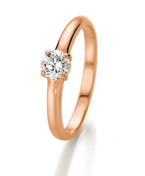 Verlobungsring 585 Rosegold 4er Krönchenfassung mit Brillant 0,50 Karat