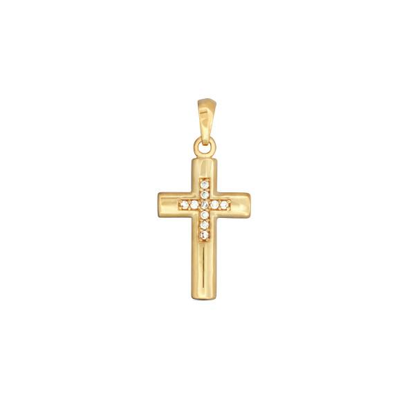 Anhänger 333 Gold Kreuz poliert stark gewölbt mit Zirkonia