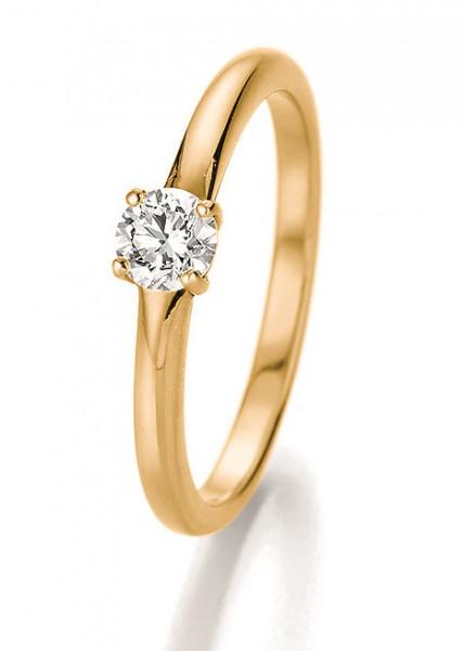 Verlobungsring 585 Gelbgold 4er Krönchenfassung mit Brillant 0,33 Karat