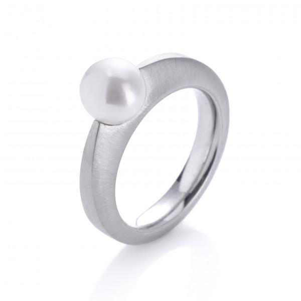 Damenring aus Edelstahl silberfarben matt, mit weißer Perle