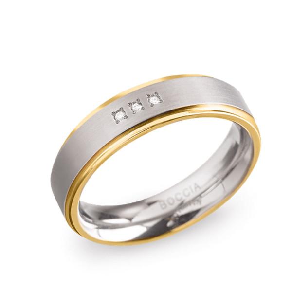 Damenring Titan mit drei Brillanten teil-goldplattiert - BOCCIA