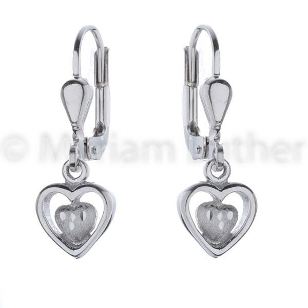 Kinder Ohrhänger Herz 925 Silber rhodiniert