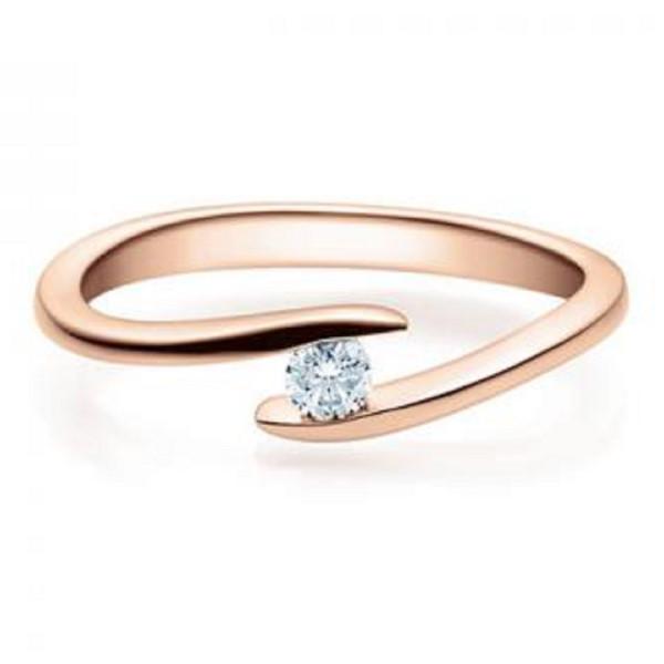 Verlobungsring 585 Rotgold 0,10 ct. Brillant