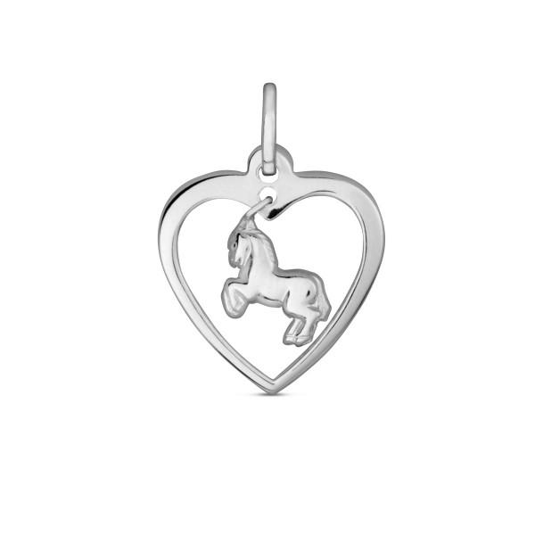 Kinder Anhänger 925 Silber Herz mit beweglichem Pferd