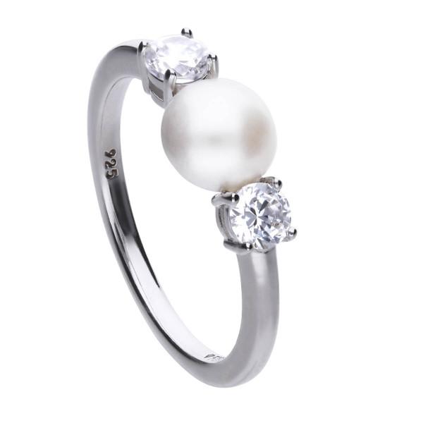 Ring Silber mit Zirkonia und Perle Diamonfire