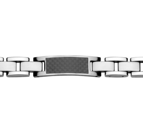 Herrenarmband in Edelstahl silber schwarz gravierbar mit Carbon Inlay STEELWEAR