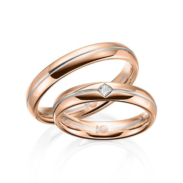 Trauringe 750 Rotgold 950 Palladium Eheringe Hochzeitsringe RU-1611-3-750RG950PD