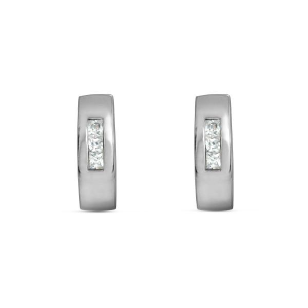 Creolen 925 Silber mit sechs quadratischen Zirkonia-Steinen