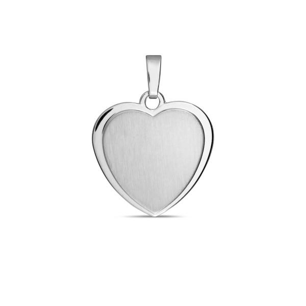 Gravur Anhänger Herz 925 Silber matt Gravurplatte 16,5 x 17 mm