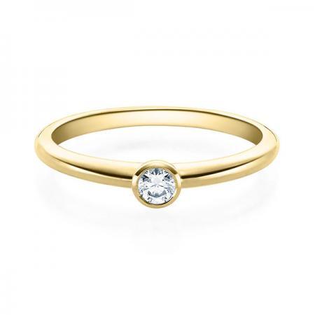 Verlobungsring 0,10 Karat Brillant schlicht in 585 Gelbgold