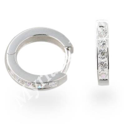 Creolen 925 Silber teils mit Zirkonia-Steinen gefasst 2,3 mm stark