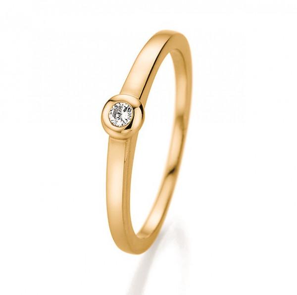 Verlobungsring Zargenfassung in 585 Gelbgold mit Brillant 0,06 Karat