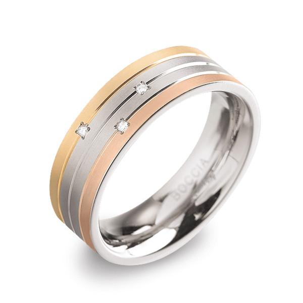 Titan Ring matt gerade Form 6 mm mit 3 Brillanten 3 Linien teil-goldplattiert teil-roseplattiert von