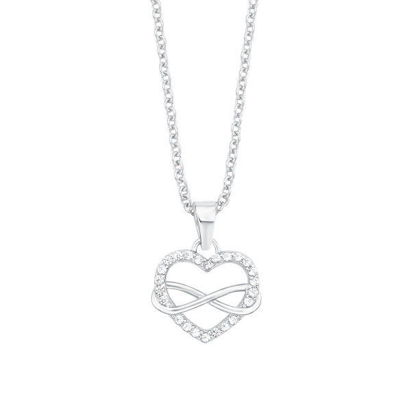 Damen Halskette mit Herz und Infinity Anhänger Zirkonia Silbers.Oliver
