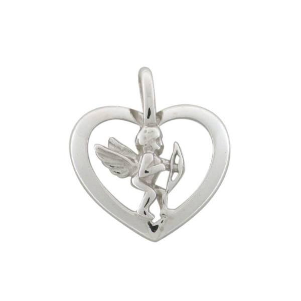 Anhaenger in Herz mit Amor 925 Silber rhodiniert