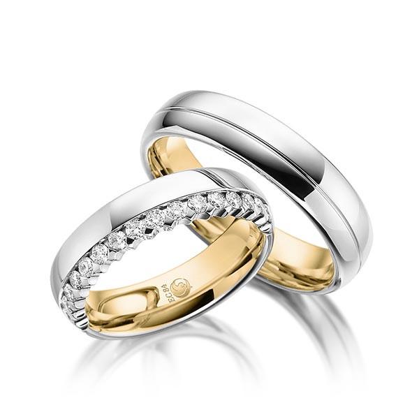 Trauringe 585 Gelbgold Weissgold Eheringe Hochzeitsringe RU-1052-2-585GGWG
