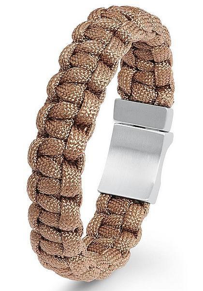 Herrenarmband geflochtenes Nylon braun s.Oliver