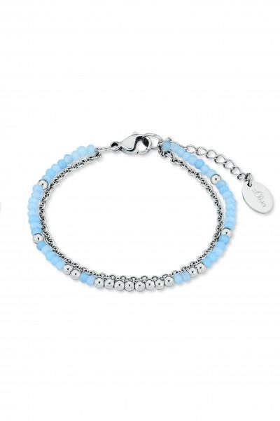 Armkette Edelstahl silber farben blau zweireihig s.Oliver