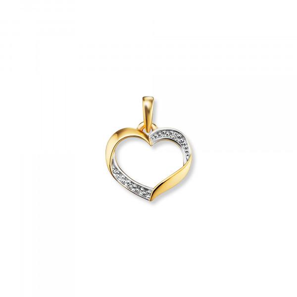 Anhänger Herz teils mit Brillanten Rand, 585 Gold/Weißgold