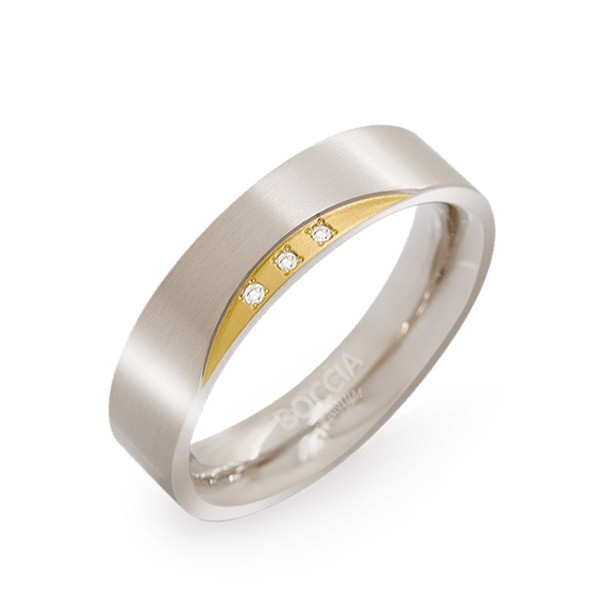 Titan Ring matt gerade Form 5 mm 3 Brillanten teil-goldplattiert von BOCCIA Titanium
