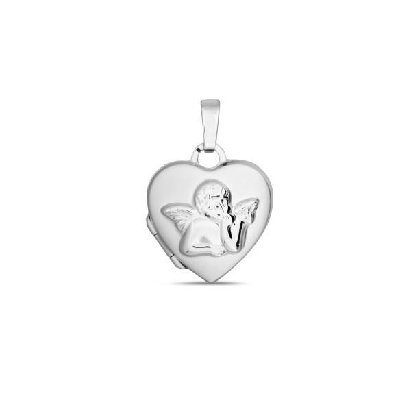 Medaillon 925 Silber Herz mit Engel 14 x 14,5 mm