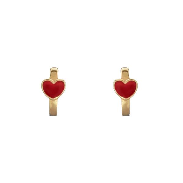 Kinder Creolen 333 Gold mit rotem Herz ca. 10 mm