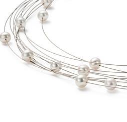 Halskette in Edelstahl mehrsträngig mit Perlen MONOMANIA
