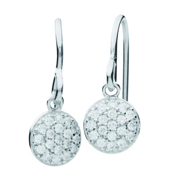 Ohrringe mit rundem Anhänger einzelne Zirkonia - Silver Trends