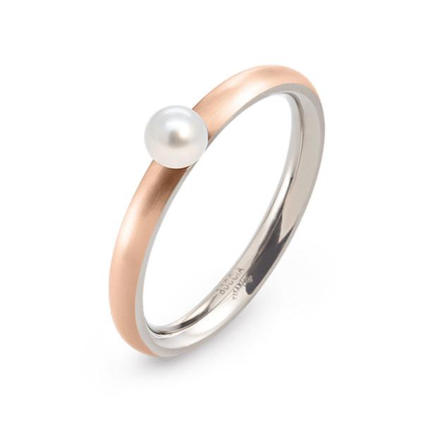 Titan Ring matt abgerundete Form 2,5 mm rosegoldplattiert mit einer Süßwasser-Zuchtperle von BOCCIA
