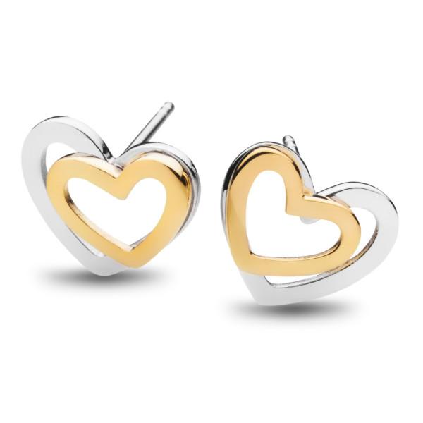 Ohrstecker Doppelherz Silber rose - Silver Trends