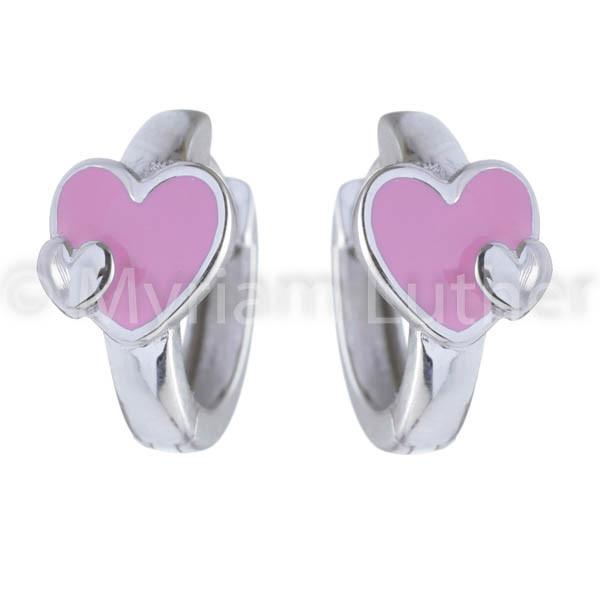 Kinder Ohrringe Herz rosa 925 Silber rhodiniert
