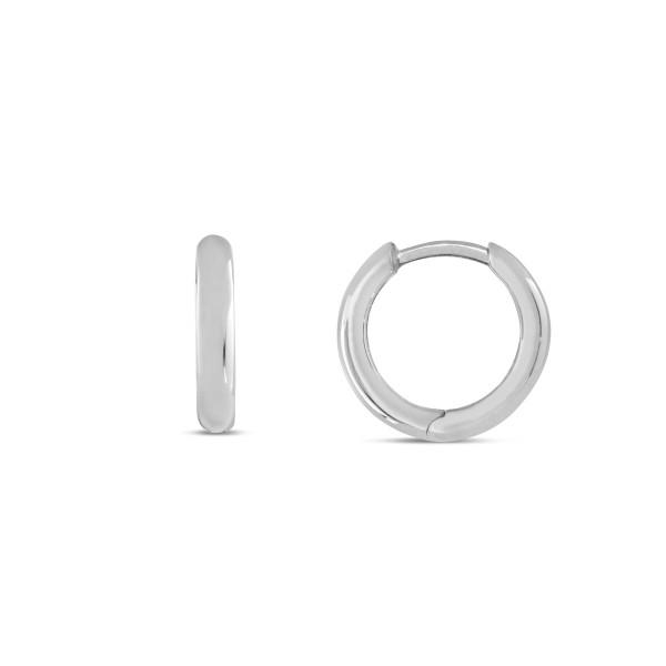 Creolen 925 Silber abgerundet, schlicht poliert 12,5 x 2,3 mm