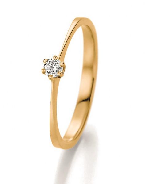 Verlobungsring 585 Gelbgold charmant Solitär Brillant 0,10 Karat