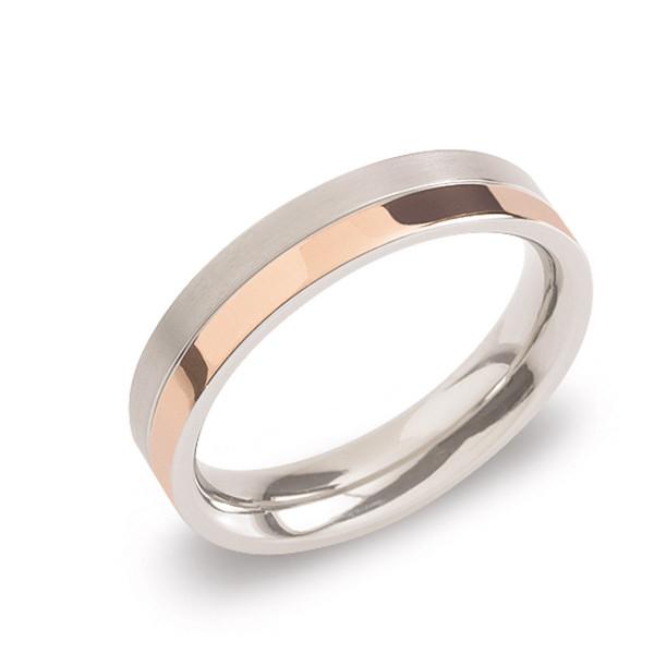 Titan Ring matt - poliert gerade Form 4,3 mm zum teil-rosegoldplattiert von BOCCIA Titanium