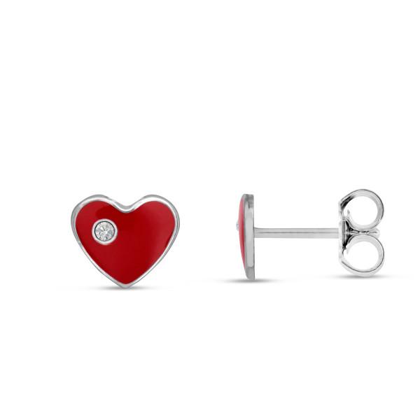 Kinder Ohrstecker 925 Silber rote Herzen mit Zirkonia