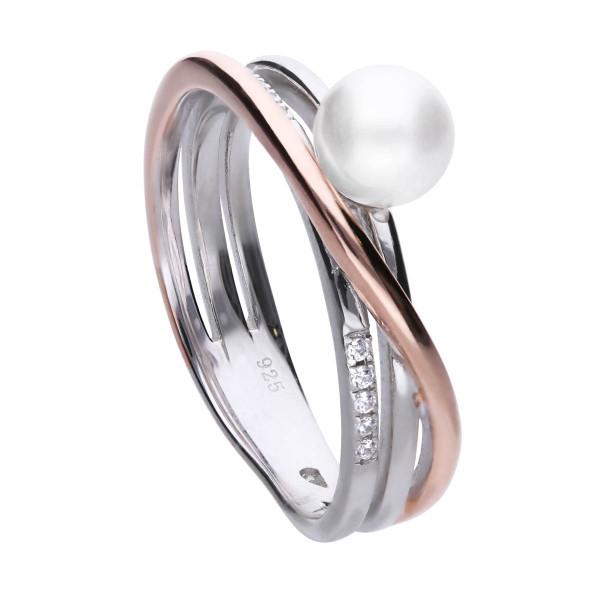 Ring Silber mit Zirkonia und Perle teils rosegold farben Diamonfire