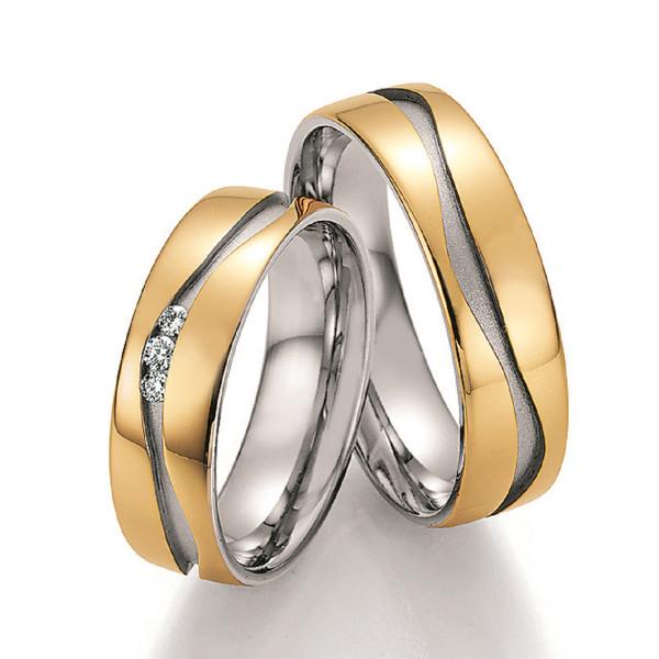 Trauringe 585 Weissgold/Gelbgold Eheringe Hochzeitsringe