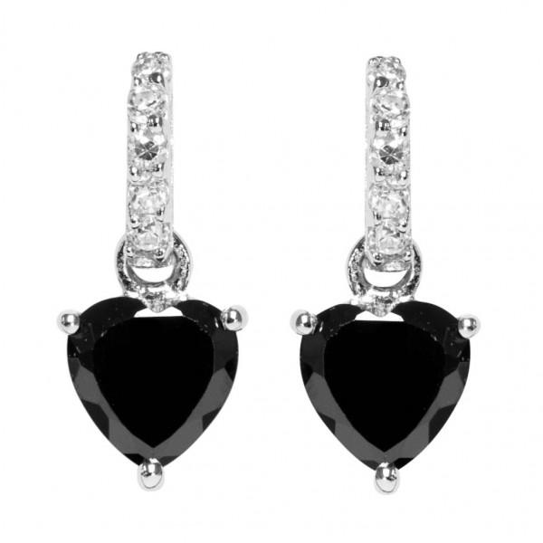 Ohrstecker mit Zirkonia Herz in schwarz - Silver Trends