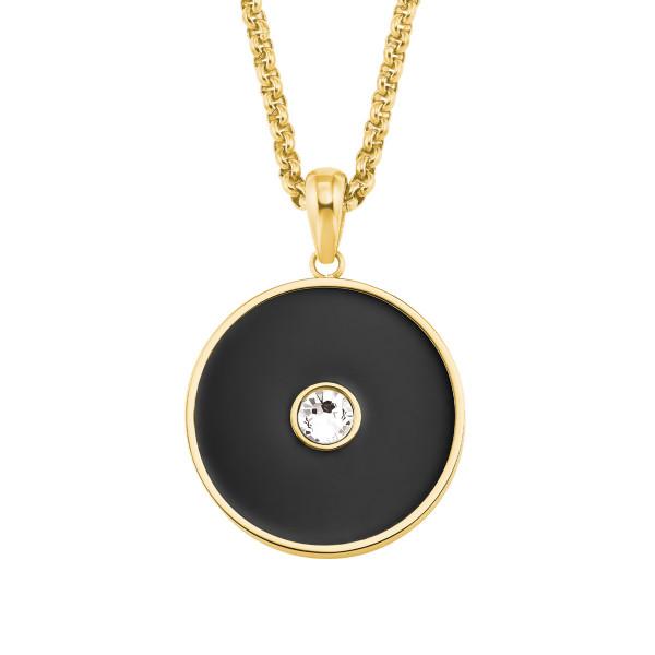 Halskette Damen Kreis Edelstahl IP Gold mit Swarovski s.Oliver