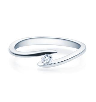 Verlobungsring Twisted 925 Silber 0,10 Karat Diamant in Spannfassung