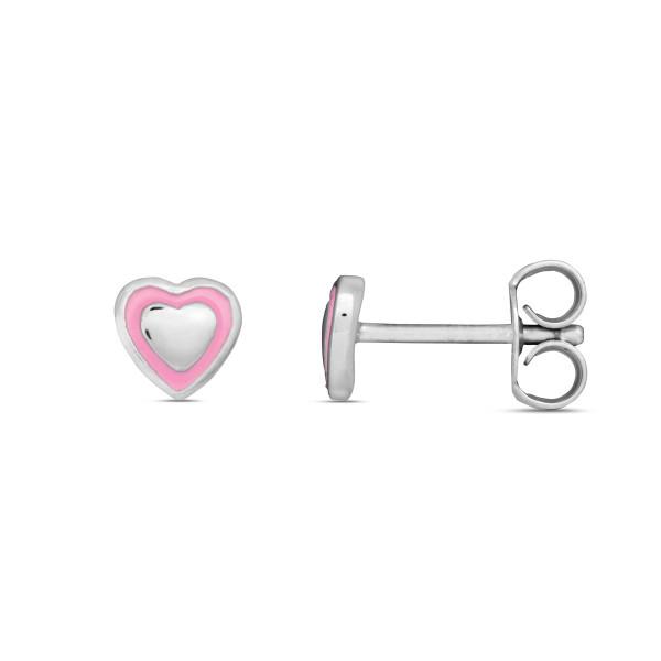 Kinder Ohrstecker 925 Silber mit Herzchen teils pink