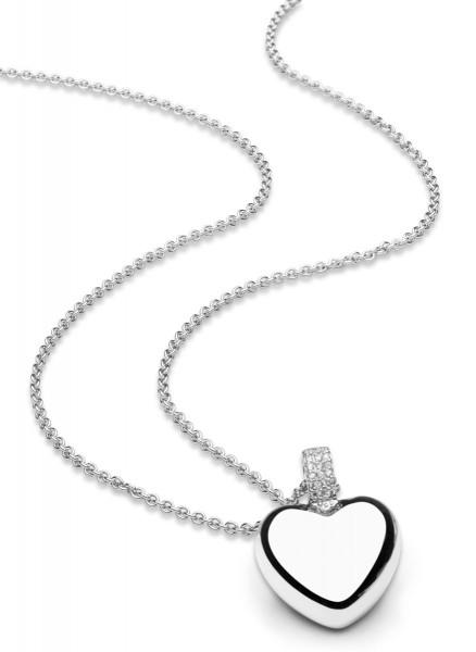 Halskette mit Anhänger Herz massiv und Zirkonia - Nana Kay