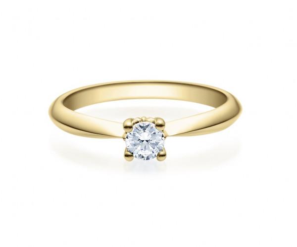 Verlobungsring Viertelkaräter Brillant 585 Gelbgold