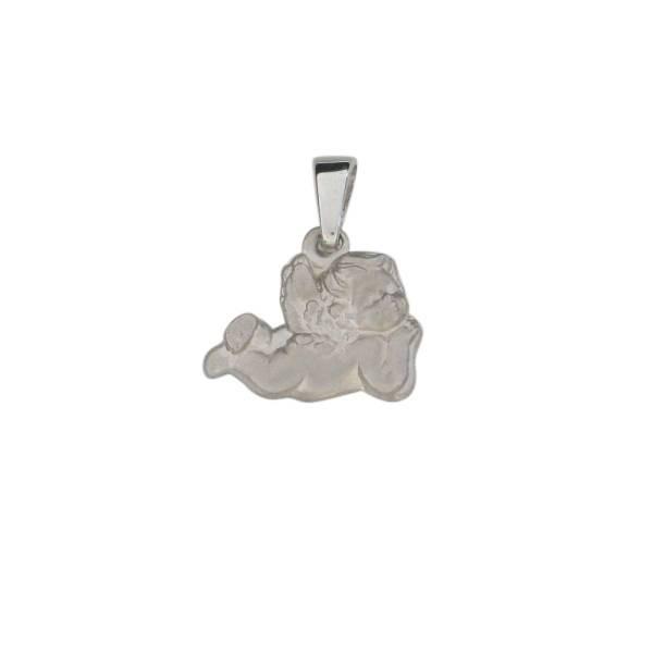 Anhaenger Engel 925 Silber rhodiniert matt